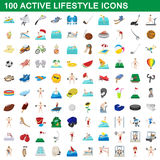 100 active lifestyle icons set, cartoon style Royalty Free Stock Image