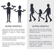 Active Lifestyle, Picture with People Silhouettes vector illustration