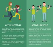 Active Lifestyle Poster Mother Daughter Father Son vector illustration