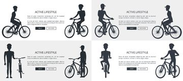 Active Lifestyle Set of Posters Depicting Cyclists royalty free illustration