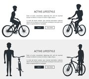 Active Lifestyle Silhouettes Vector Illustration. Active lifestyle, silhouettes of cyclists wearing helmets, web page with informational text and buttons Royalty Free Stock Photo