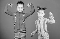 Active lifestyle. Sport and fitness for kids. Cute sisters doing gym fitness exercises with dumbbells. Little children. Developing physical fitness. Small girls royalty free stock image