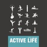 Active lifestyle stick man set Stock Photos