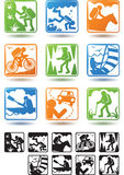 Active lifestyle, tourism icons Stock Photos