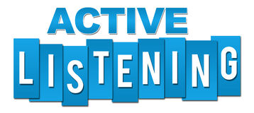 Active Listening Blue Stripes. Active listening text alphabets written over blue  background Stock Photos