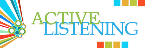 Active Listening Colorful Graphics Horizontal Stock Photography