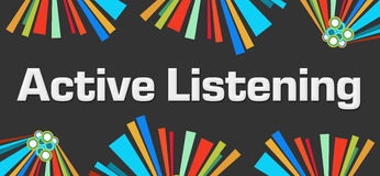Active Listening Dark Colorful Elements Royalty Free Stock Image