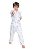 Active little boy in kimono Royalty Free Stock Images