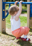Active little child climbing on a ladder Royalty Free Stock Photo