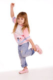Active little girl over white stock image