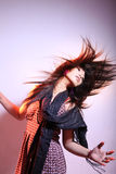 Active long hair. Female in action Stock Image