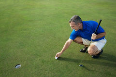 Active Male Golfer Putting Royalty Free Stock Photography