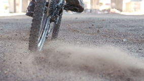 Active man riding dirt bike. In slow motion stock video