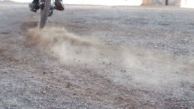 Active man riding dirt bike. In slow motion stock footage