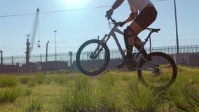 Active man riding dirt bike stock video