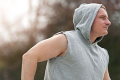 Active man run, outside jogging. Stock Images