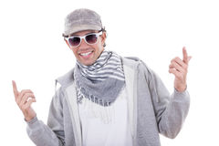 Active man in sport wearing sweatshirt and cap with sunglasses royalty free stock photo