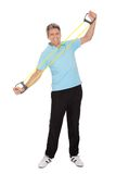 Active mature man doing exercises Stock Photo