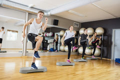 Active Men And Women Performing Step Exercise In Gym Royalty Free Stock Image