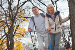 Active middle aged couple hiking outdoors Royalty Free Stock Image