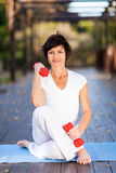 Active middle aged woman. Exercise with dumbbells Stock Photo