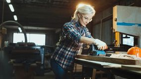 Active middle aged woman selects wood in workshop. Concept of professionally oriented motivated modern woman. Gender equality, stock photo