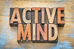 Active mind word abstract in wood type royalty free stock photos