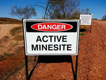Active mine mining  site danger  sign Stock Images