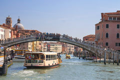 Active movement on a canal in sunny spring day,Venice, Italy Royalty Free Stock Photos