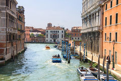 Active movement on a canal in sunny spring day,Venice, Italy Stock Photography