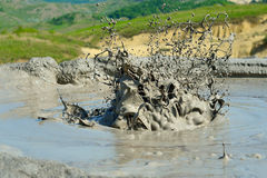 Active mud volcanoes. Volcanic activity from mud volcanoes Stock Image