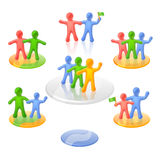 Active multicolored people in communicative poses. Communicating people which are shaking hands, dancing and celebrating in the view of neat bright multicolored Stock Photos