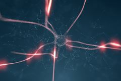 Active neuron cell in the brain. Artistic red blue colored neuron cell in the brain on black illustration background stock photos