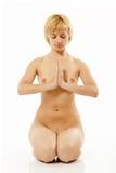 Active nudo di yoga della donna giovane su bianco Fotografia Stock