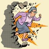 Active old Granny pensioner breaks the wall of stereotypes. Moving forward, personal development. Pop art retro vector illustration vintage kitsch vector illustration