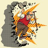 Active old man pensioner breaks the wall of stereotypes. S. Moving forward, personal development. Pop art retro vector illustration vintage kitsch stock illustration