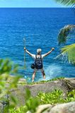 Active older man standing  on the beach Royalty Free Stock Images
