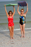 Active older women at beach royalty free stock photography