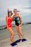 Active older women snorkel Stock Photography