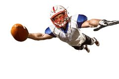 One american football player man studio isolated on white background. Active one american football player isolated on white background. Fit caucasian man in Stock Image