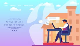 Active Online Correspondence Horizontal Banner. vector illustration