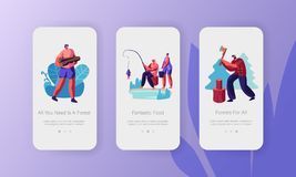 Active Outdoor Vacation in Forest Concept. People Having Rest at Nature, Chopping Wood, Fishing, Relaxing. Mobile App Page. Onboard Screen Set for Website or vector illustration