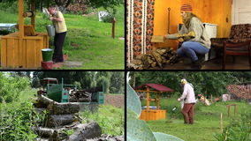 Active peasant people work in village. Video clips collage. stock footage
