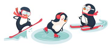 Active penguins in winter. Winter sports vector illustration Royalty Free Stock Photo