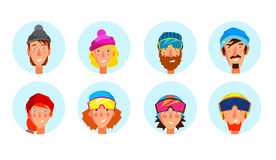 Active people avatar set. Stock Images