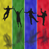 Active People on Colorful Background. Yellow, Green, Blue and Red Stripes With Active People and Shadows Stock Photo