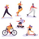 Active People Exercising. Outdoor Activities Running Woman, Girl Riding Bicycle, Man Run Marathon. Characters stock illustration