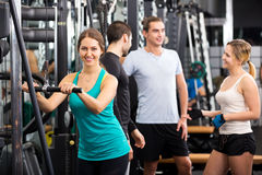 Active people having weightlifting training Stock Photo