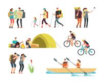 Active people hikers. Cartoon travelling family outdoor. Hiking and trekking tourists vector characters isolated. Illustration of family travel, trekking and Royalty Free Stock Images