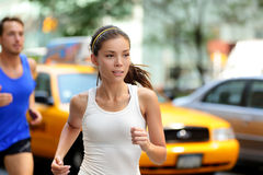 Active people jogging on New York city street, NYC Royalty Free Stock Photos